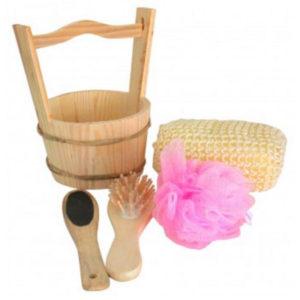Set 4 pièces pour sauna dans seau en bois (30BA-041)