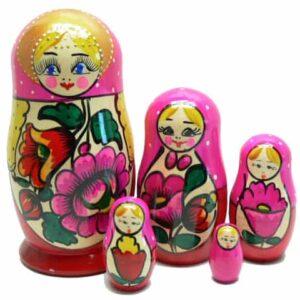 910MAT518 – Matriochka / Poupée russe 5 pièces Ioulia (ROSE)