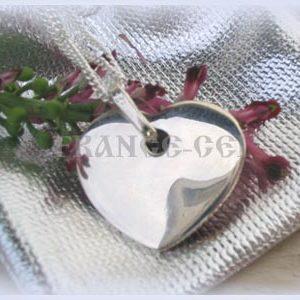 AR0080 Pendentif Grand coeur arrondi Chaîne offerte