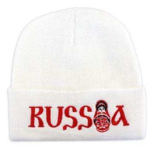 Bonnet blanc Russia avec matriochka brodée (N2-matriochka)