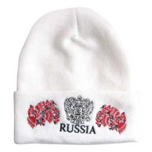 Bonnet blanc Russia avec 2 oiseaux brodés (N2)
