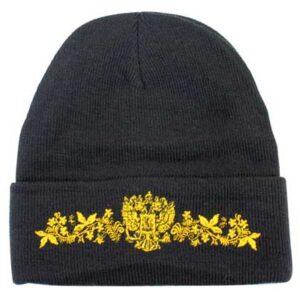 Bonnet noir et or avec blason russe (N2)