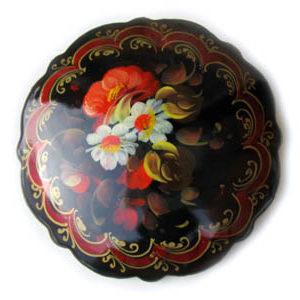 Broche d'artisanat russe en bois – 1009b