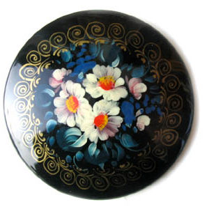 Broche d'artisanat russe en bois – 1024a