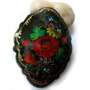 Broche d'artisanat russe en bois – 1030