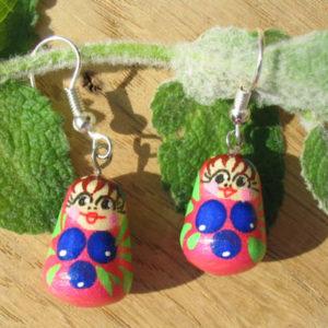 Boucles d'oreilles Matriochka (rose) (Z18Be031bo)