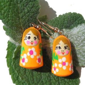 Grandes Boucles d'oreilles Matriochka (orange) (Z18Be16bo)