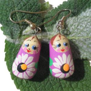 Boucles d'oreilles Matriochka Romachka (lilas) (Z18Be20bo)