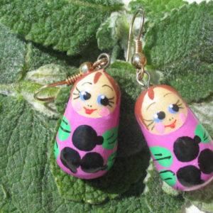 Boucles d'oreilles Matriochka (violet) (Z18Be24bo)
