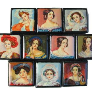 9128 – Collection de boîtes laquées – 10 portraits Femme russe
