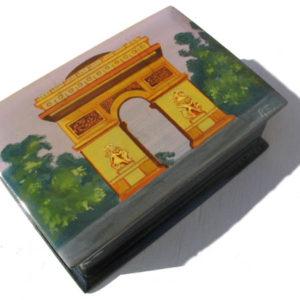 bof05 – Boîte décorée Paris Arc de triomphe (Rose)