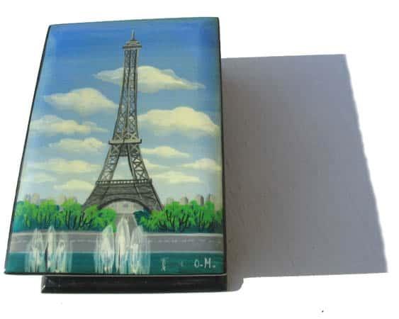 bof01 – Boîte décorée Paris Tour Eiffel (Bleu)