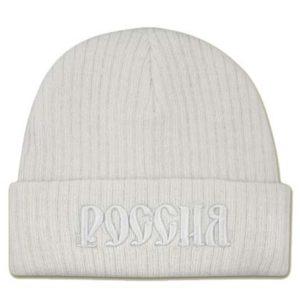 Bonnet blanc 'Russie' en russe (N2-blanc)