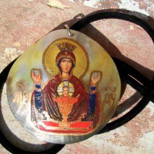 Grand pendentif en nacre Bogoroditsa + cordon offert (Z15Bop5)