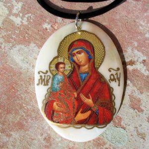 Grand pendentif en nacre Bogoroditsa + cordon offert (Z15Bogp7b)