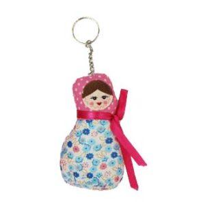 Porte-clés en tissus Matrioéchka Rose/imprimé