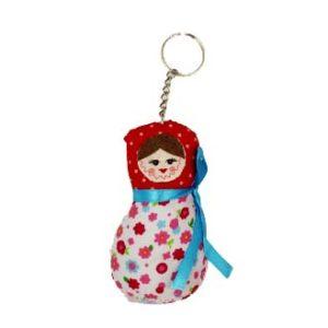 Porte-clés en tissus Matrioéchka Rouge/imprimé