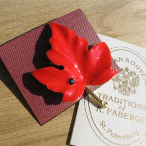 Fbr2 – Fabergé Broche russe 'La Feuille d'Erable'
