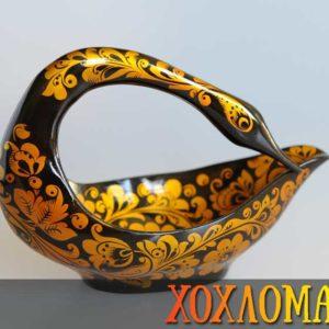Cygne en bois peint de Khokhloma 12,5cm (CK110-1)