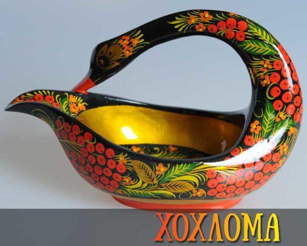 Cygne en bois peint de Khokhloma 12,5cm (CK110-14)