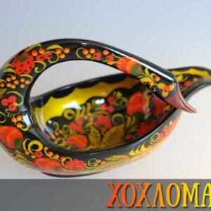 Cygne en bois peint de Khokhloma 12,5cm (CK110-8)
