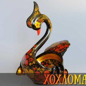 Cygne en bois peint de Khokhloma 31cm (CK300)