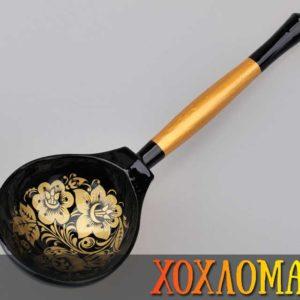 Cuillère russe en bois noire – 19,5 cm