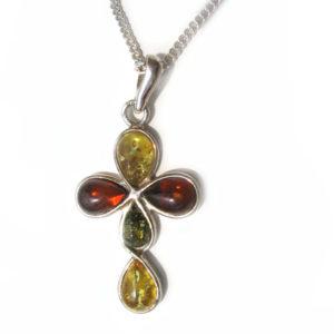 Croix orthodoxe arrondie argent / 3 ambre + chaîne
