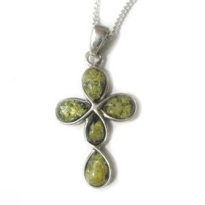 Croix orthodoxe arrondie argent / ambre vert + chaîne