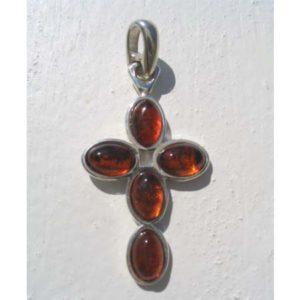 Croix orthodoxe écarlate en argent et ambre d'or + chaîne