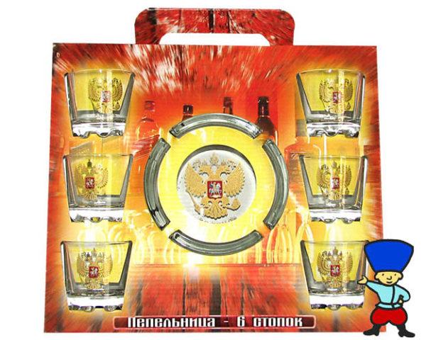 Set de table La Russie: cendrier + 6 verres à vodka