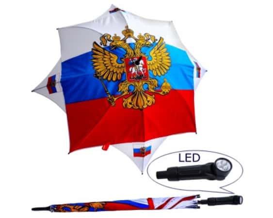 """Parapluie russe """"Russie"""" avec lampe LED (YFA-0013)"""