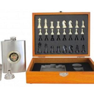 Coffret bois avec flasque + 2 verres + jeu d'échecs FS-21276