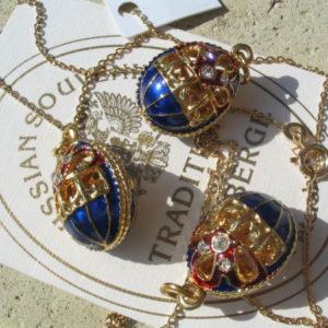 Fb19 – Pendentif Oeuf Fabergé Bleu Or en filigrane