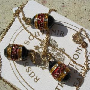 Fb31 – Pendentif Oeuf (petit) Fabergé russe Noir-Or+chaîne offer