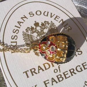 Fb12 – Pendentif Oeuf Fabergé Noir – Or 'Couronne'