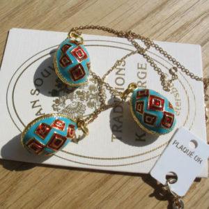 Fb2 – Pendentif Oeuf Fabergé Bleu – Rouge – Or + chaîne offerte
