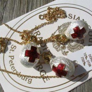 Fb33 – Pendentif Oeuf (petit) Fabergé russe 'Croix-Rouge'+chaine