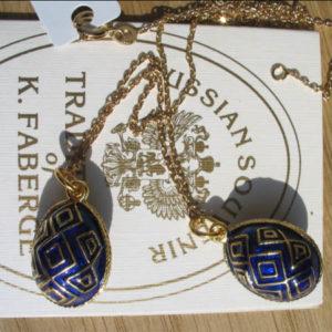 Fb4 – Pendentif Oeuf Fabergé Bleu – Or