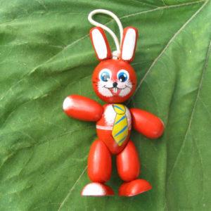 Figurine 'Lapin rouge' russe pour sapin Noël ou poussette