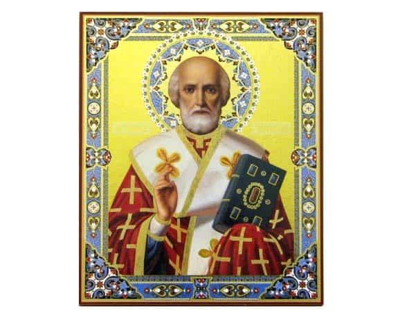 ico047 – Icône russe orthodoxe 'St Nicolas Tchudotvoretz' 30×40
