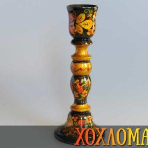 Bougeoir en bois peint de Khokhloma 20cm (KH958)