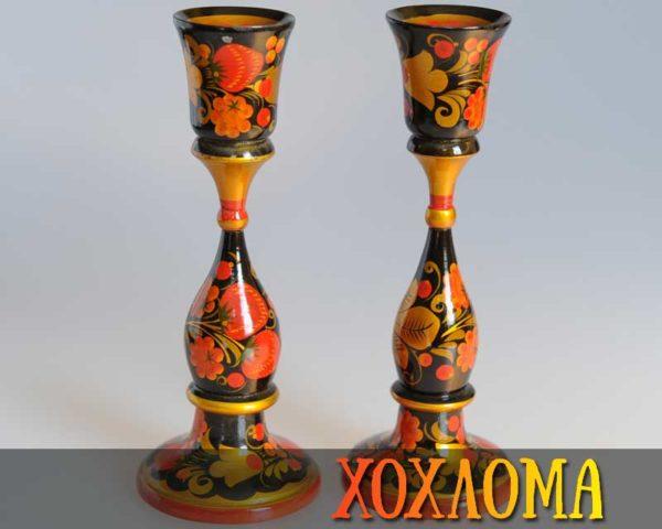 Bougeoir en bois peint de Khokhloma 19,5cm, par 2 (KH960)