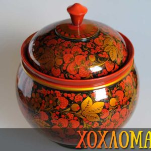 Bonbonnière bois peint Khokhloma grand volume 30x25cm (KHB10)