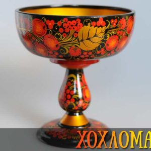 Bonbonnière bois peint Khokhloma 18×16,5cm (KHB22)