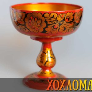 Bonbonnière bois peint Khokhloma 18,5x17cm (KHB23)