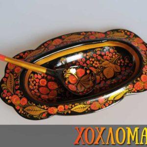Coupelle de table + cuillère de Khokhloma 31cm (CK900)