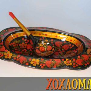 Coupelle de table + cuillère de Khokhloma 31cm (CK901)