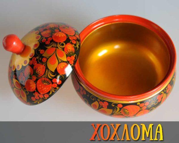 Pot avec couvercle en bois peint de Khokhloma 17cm (KHP15)