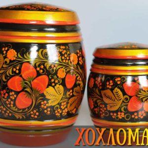 Tonneaux bois peint Khokhloma 26x20cm (KHT10)
